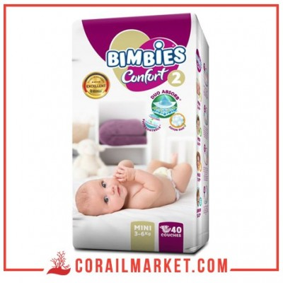 Couches bébé Bimbies confort N 02 (3-6 kg ) 40 couches